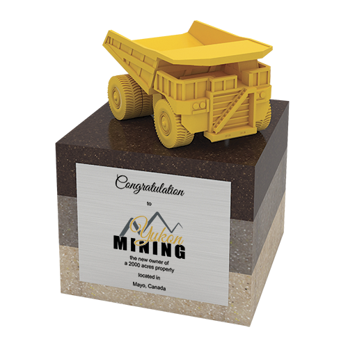 Custom award 3D truck on base (Yukon Mining)